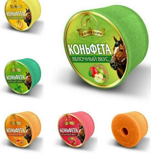 """Ликит """"Коньфета"""", яблоко, морковь, вишня, банан, мята, карамель, мёд, тропические фрукты. """"В коня корм"""" 620 гр."""